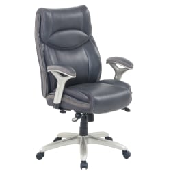 Serta® Smart Layers™ Jennings Big And Tall Bonded Leather High-Back Executive Chair, Dark Gray/Silver
