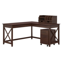 """Bush Furniture Key West 60""""W L-Shaped Desk With Mobile File Cabinet And Desktop Organizers, Bing Cherry, Standard Delivery"""