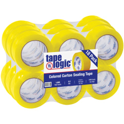 """Tape Logic® Carton-Sealing Tape, 3"""" Core, 2"""" x 110 Yd, Yellow, Pack Of 18"""