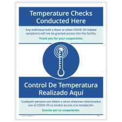 """ComplyRight™ Coronavirus And Health Safety Posting Notice, Temperature Screenings, 8-1/2"""" x 11"""""""