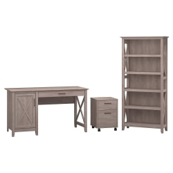 "Bush Furniture Key West 54""W Computer Desk With Storage, 2 Drawer Mobile File Cabinet And 5 Shelf Bookcase, Washed Gray, Standard Delivery"