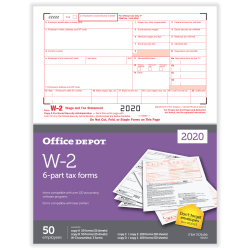 """Office Depot® Brand W-2 Laser Tax Forms, 2-Up, 6-Part, 8-1/2"""" x 11"""", Pack Of 50 Forms"""