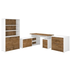 "Bush Business Furniture Jamestown 60""W L-Shaped Desk With Lateral File Cabinet And 5-Shelf Bookcase, Fresh Walnut/White, Standard Delivery Service"