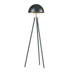 "Kenroy Home Trey Tripod Floor Lamp, 59-1/2""H, Black And Antique Brass Shade/Black Base"