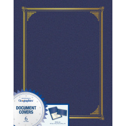 """Geographics Award Certificate Gold Design Covers - A4, Letter - 8 19/64"""" x 11 45/64"""", 8 1/2"""" x 11"""", 8"""" x 10"""" Sheet Size - Metallic Blue - Recycled - 6 / Pack"""