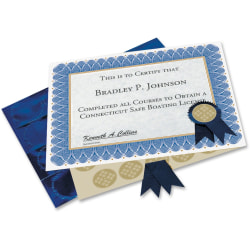 "Geographics Custom Print Award Certificates Kit - 60 lb - 11"" x 8.50"" - Inkjet, Laser Compatible - Blue25 / Pack"