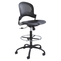 Safco® Zippi™ Plastic Extended-Height Chair, Black/Silver