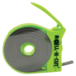 """Zeus Magnetic Tape with Self-Cutting Dispenser - 0.50"""" Width x 15 ft Length - Dispenser Included - 1 / Roll - Black"""