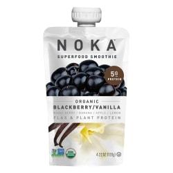 NOKA Single-Serve Superfood Smoothies, Blackberry Vanilla, 4.22 Oz, Pack Of 12 Smoothies