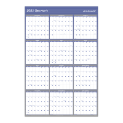 "AT-A-GLANCE® Reversible Erasable Yearly Wall Calendar, 32"" x 48"", Blue, January to December 2021, A1152"