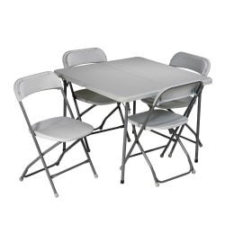 Work Smart 5-Piece Folding Table & Chair Set, Gray