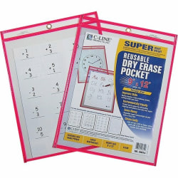 "C Line® Reusable Dry-Erase Pocket , 8 1/2"" x 11"", Red, Box Of 30"
