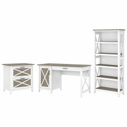 """Bush Furniture Key West 54""""W Computer Desk With 2-Drawer Lateral File Cabinet And 5-Shelf Bookcase, Shiplap Gray/Pure White, Standard Delivery"""