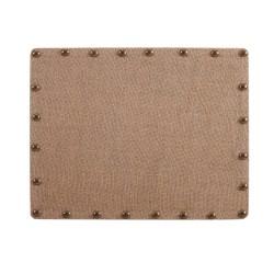 "Linon Home Décor Products Burke Burlap Nailhead Home Office Corkboard, 22""x28"", Brown/Antique Bronze"