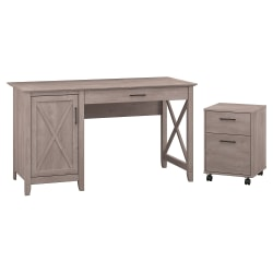 """Bush Furniture Key West 54""""W Computer Desk With Storage And 2 Drawer Mobile File Cabinet, Washed Gray, Standard Delivery"""