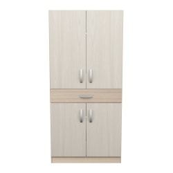 Inval Computer Cabinet Workstation, Beech/Laricina White
