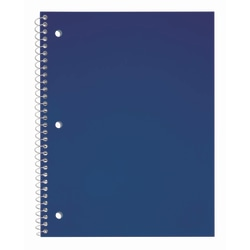 """Just Basics® Poly Spiral Notebook, 8 1/2"""" x 10 1/2"""", Wide Ruled, 140 Pages (70 Sheets), Blue"""