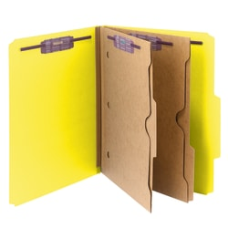 Smead® Pressboard Classification Folders With SafeSHIELD® Fasteners And 2 Pocket Dividers, Letter Size, 50% Recycled, Yellow, Box Of 10