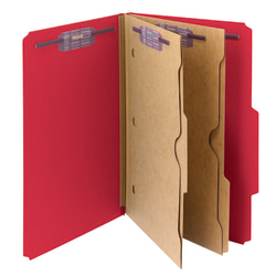 Smead® Pressboard Classification Folders With SafeSHIELD® Fasteners And 2 Pocket Dividers, Legal Size, 50% Recycled, Bright Red, Box Of 10