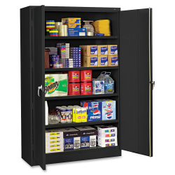 "Tennsco® Jumbo Heavy-Gauge Steel Storage Cabinet, 5-Shelf, 78""H x 48""W, Black"