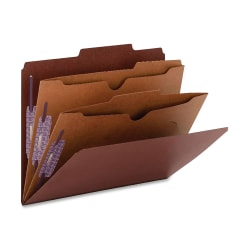 """Smead® Classification Folders, 2 Dividers, 2"""" Expansion, Legal Size, 60% Recycled, Red, Box Of 10"""