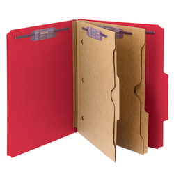 Smead® Pressboard Classification Folders With SafeSHIELD® Fasteners And 2 Pocket Dividers, Letter Size, 50% Recycled, Bright Red, Box Of 10