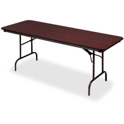 "Iceberg Premium Wood Laminate Folding Table, Rectangular, 96""W x 30""D, Mahogany/Brown"