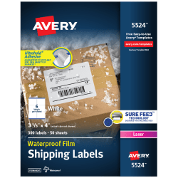 """Avery® Weatherproof™ Laser Mailing Labels With TrueBlock® Technology, 5524, 3 1/3"""" x 4"""", White, Pack Of 300"""