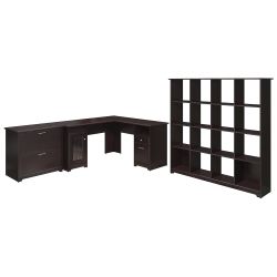 "Bush Furniture Cabot 60""W L-Shaped Desk With 16-Cube Bookcase And Lateral File Cabinet, Espresso Oak, Standard Delivery"