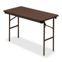Iceberg Economy Rectangle Folding Table, Walnut/Charcoal Gray
