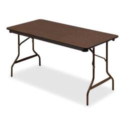 "Iceberg Economy Folding Table, Rectangle, 60""W x 30""D, Walnut"