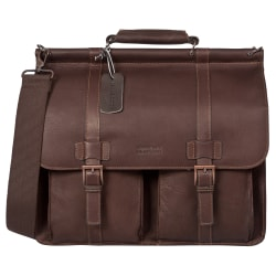 "Kenneth Cole Reaction Colombian Leather Dowel Rod Portfolio With 15"" Laptop Pocket, Brown"