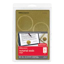 "Office Depot® Brand Permanent Self-Adhesive Notarial Seals, 2"" Diameter, Pack Of 44"