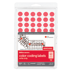 "Office Depot® Brand Removable Round Color-Coding Labels, OD98801, 1/2"" Diameter, Red Glow, Pack Of 840"