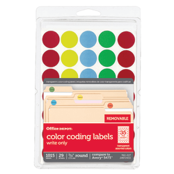 """Office Depot® Brand See-Thru™ Removable Color Dots, OD98808, 3/4"""" Diameter, Assorted Colors, Pack Of 1,015"""