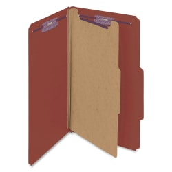"""Smead® Classification Folders, Pressboard With SafeSHIELD® Fasteners, 1 Divider, 2"""" Expansion, Legal Size, 60% Recycled, Red, Box Of 10"""