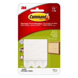 Command™ Damage-Free Picture Hanging Strips, Medium, White, Pack Of 3