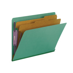 "Smead® End-Tab Classification Folders, With SafeSHIELD Fasteners, 8 1/2"" x 11"", 2 Divider, 2 Partition, 100% Recycled, Green, Pack Of 10"