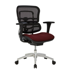 WorkPro® 12000 Series Mesh/Fabric Mid-Back Manager's Chair, Burgundy/Black/Chrome