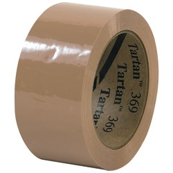 "Tartan™ 369 Carton-Sealing Tape, 3"" Core, 2"" x 110 Yd., Tan, Pack Of 6"