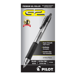Pilot® G2 Retractable XFine Gel Ink Rollerball Pens, Extra Fine Point, 0.5 mm, Black Ink, Pack Of 12 Pens