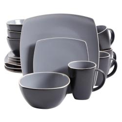 Gibson Soho Lounge 16-Piece Matte Dinnerware Set, Gray/Black