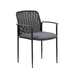 Boss Office Products Stackable Mesh Guest Chair, Gray/Black