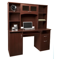 "Realspace® Landon 56""W Computer Desk With Hutch, Cherry"
