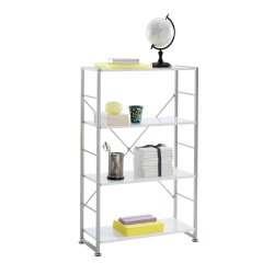 "Realspace® Halton 46 3/4"" 3 Shelf Contemporary Bookcase, White/Light Finish, Standard Delivery"