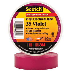 """3M™ 35 Color-Coded Vinyl Electrical Tape, 1.5"""" Core, 0.75"""" x 66', Violet, Pack Of 10"""