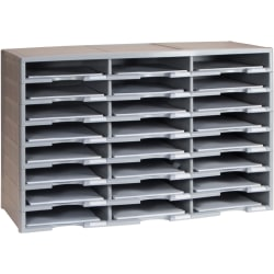 "Storex Stackable Literature Sorter - 12000 x Sheet - 24 Compartment(s) - 9.50"" x 12"" - 20.5"" Height x 14.1"" Width31.4"" Length - Gray - Plastic, Polystyrene - 1Each"