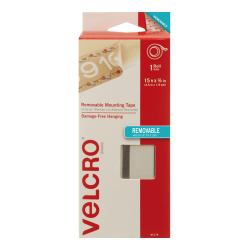 """VELCRO® Brand Removable Mounting Tape, 0.75"""" x 15', White"""