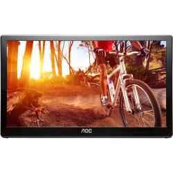 "AOC 16"" LED USB-Powered Portable Monitor With Case, Black, E1659FWU"