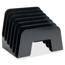 "Business Source 6-slot Inclined Desk Step Sorter - 6 Compartment(s) - 6.5"" Height x 8"" Width x 7.8"" Depth - Desktop - 25% - Black - Plastic - 1 Each"